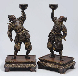 A Pair of Japanese Bronze models of samurai, by Miyao, Meiji...