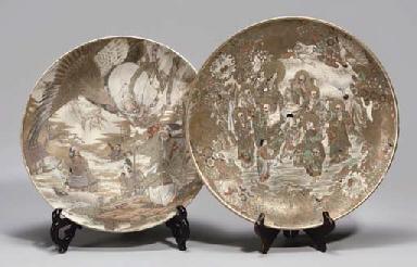 Two large Japanese satsuma dishes, 19th century