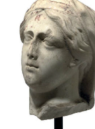 AN ITALIAN WHITE MARBLE BUST OF A WOMAN