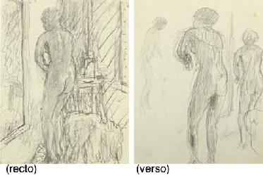 Femme nue en toilette (recto);