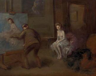 Peintre peignant jeune femme e