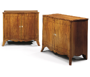 A PAIR OF MID-VICTORIAN SATINWOOD SERPENTINE SIDE CABINETS ...