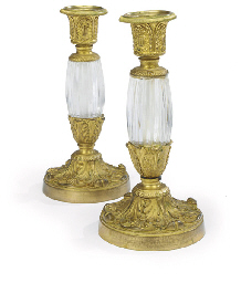 A PAIR OF FRENCH ORMOLU AND MO