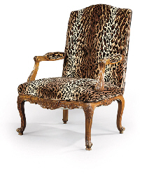 A FRENCH BEECHWOOD FAUTEUIL