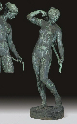 A LIFE-SIZE GERMAN BRONZE FIGURE OF DIANA STRAPPING ON HER QUIVER
