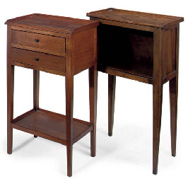 A FRENCH PROVINCIAL WALNUT BEDSIDE TABLE