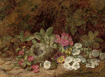 A bird's nest with primulas, p