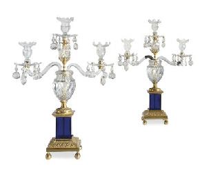 A PAIR OF ORMOLU-MOUNTED CUT-GLASS AND COBALT-GLASS THREE-LI...