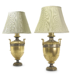 A PAIR OF WILLIAM IV SILVERED AND GILT-BRASS OIL LAMPS