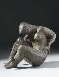 Jeune femme recroquevillée Bronze à patine brune, signé, épreuve d'artiste, cachet de fondeur Valsuani