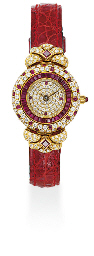 A LADY'S RUBY AND DIAMOND WRIS