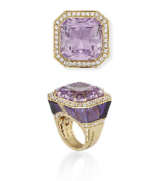 A KUNZITE, AMETHYST AND DIAMON