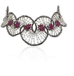 A DIAMOND AND RUBY NECKLACE, B