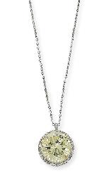 A DIAMOND SINGLE-STONE PENDANT