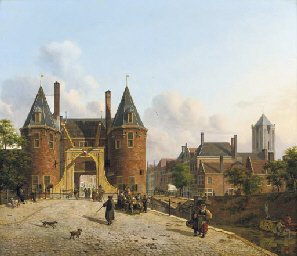 View of the Weerdpoort in Utrecht with the St. Jacobskerk in the distance