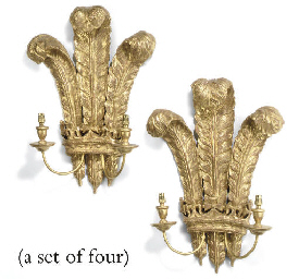 A SET OF FOUR GILTWOOD TWIN-LI