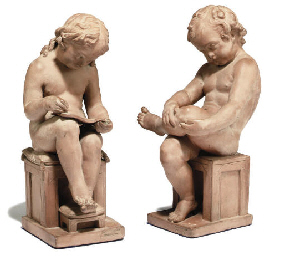 A PAIR OF ENGLISH TERRACOTTA M