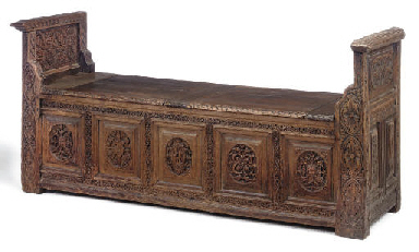 A FRENCH OAK BANQUETTE