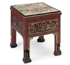 A CHINESE LACQUERED AND PARCEL