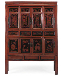 A CHINESE STAINED HARDWOOD CAB