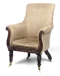 A WILLIAM IV MAHOGANY BERGERE