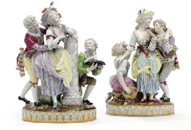 TWO MEISSEN FIGURE GROUPS, 'TH