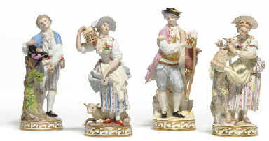TWO MEISSEN MATCHED PAIRS OF C