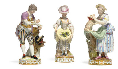 THREE MEISSEN FIGURES OF PEASA