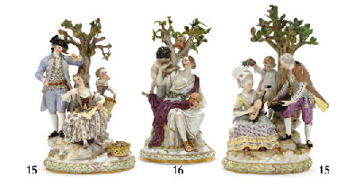 TWO MEISSEN 'UNDER THE TREE' P