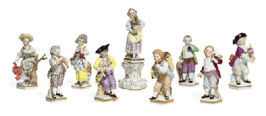 NINE MEISSEN FIGURES OF CHILDR