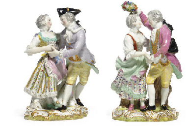 TWO MEISSEN FIGURE GROUPS OF D