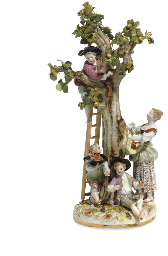 A MEISSEN FIGURE GROUP OF APPL