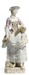 A LARGE MEISSEN FIGURE OF A FE