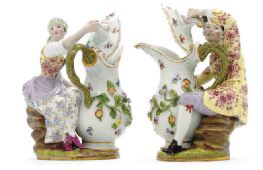 A PAIR OF MEISSEN FIGURAL EWER