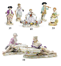 FOUR MEISSEN FIGURES OF GARDEN