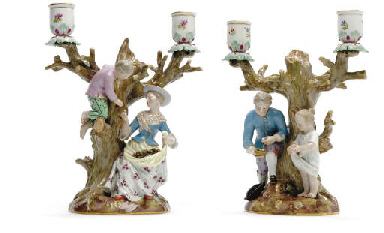 A PAIR OF MEISSEN TWO-LIGHT FI