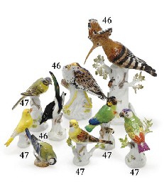 THREE MEISSEN MODELS OF BIRDS