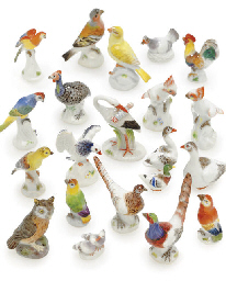 TWENTY-ONE MEISSEN MINIATURE M
