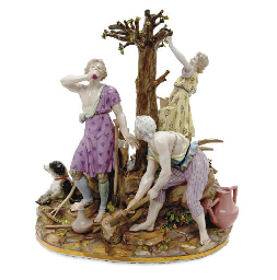 A LARGE MEISSEN FIGURE GROUP E