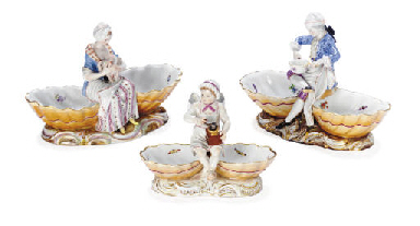 THREE MEISSEN FIGURAL SWEETMEA
