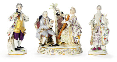A PAIR OF  MEISSEN FIGURES OF
