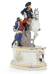 A MEISSEN EQUESTRIAN GROUP OF