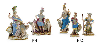 THREE MEISSEN FIGURES OF WARRI