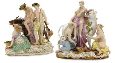 TWO MEISSEN FIGURE GROUPS, 'EU