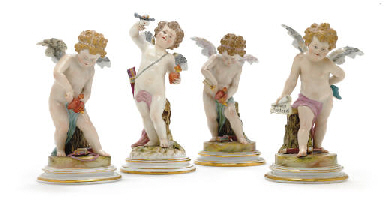 FOUR MEISSEN FIGURES OF PUTTI