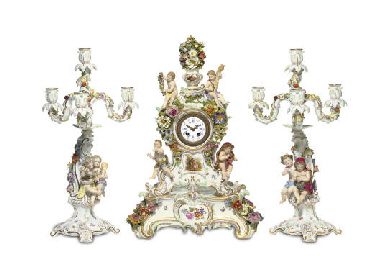 A MEISSEN CLOCK GARNITURE EMBL
