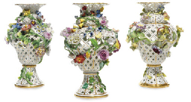 THREE MEISSEN FLOWER-ENCRUSTED