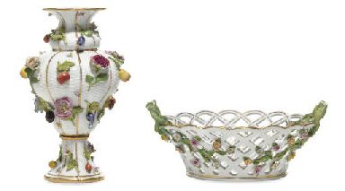 A MEISSEN FRUIT AND FLOWER ENC