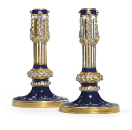 A PAIR OF MEISSEN COBALT-BLUE