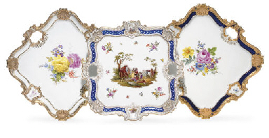 THREE MEISSEN TWO-HANDLED TRAY